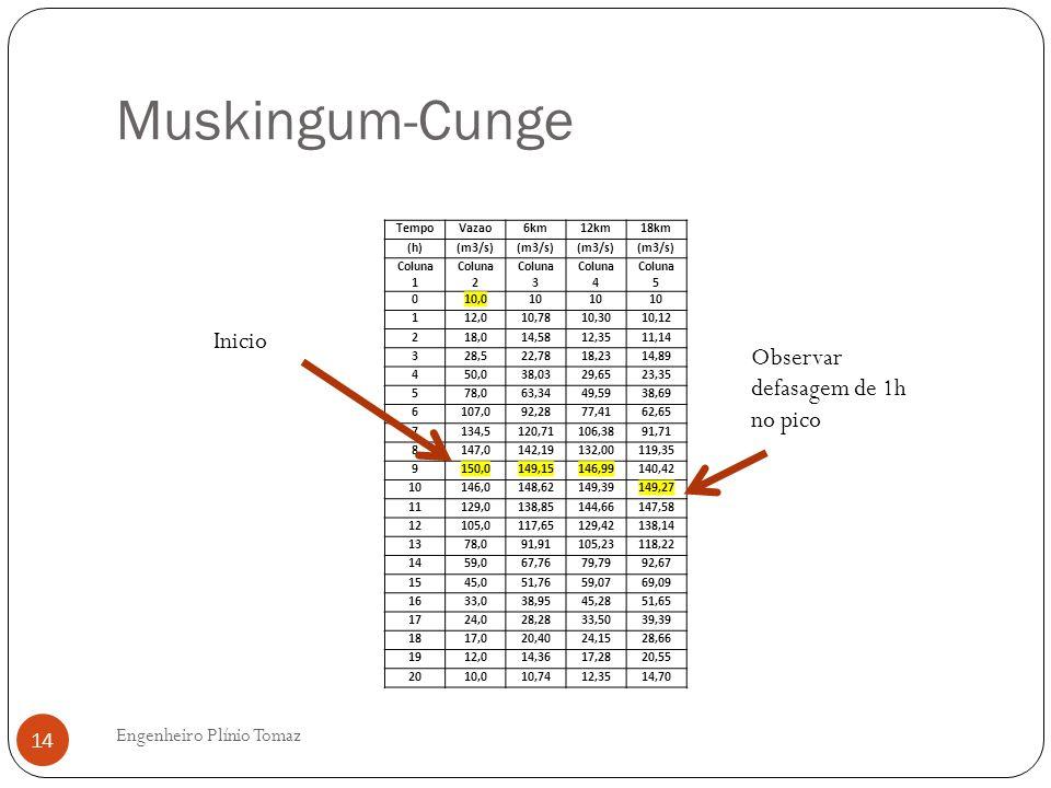 Muskingum-Cunge Engenheiro Plínio Tomaz 14 TempoVazao6km12km18km (h)(m3/s) Coluna 1 Coluna 2 Coluna 3 Coluna 4 Coluna 5 010,010 112,010,7810,3010,12 2