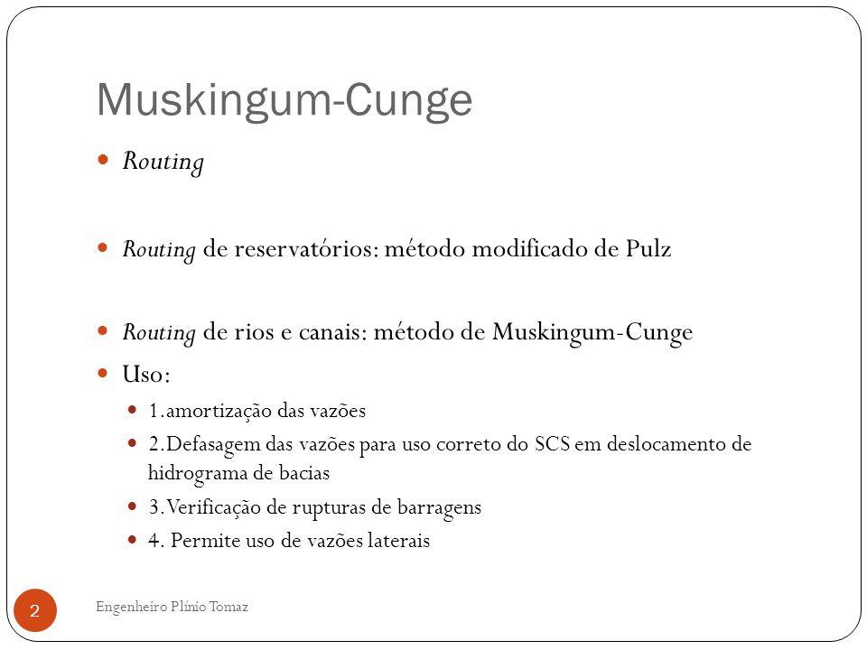 Engenheiro Plínio Tomaz 2 Routing Routing de reservatórios: método modificado de Pulz Routing de rios e canais: método de Muskingum-Cunge Uso: 1.amort
