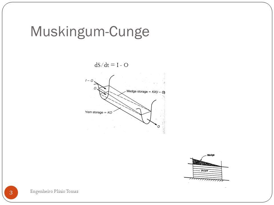 Muskingum-Cunge Engenheiro Plínio Tomaz 4 Existem vários modelos de cálculos Escolha: modelo de Bedient e Huber et al, 2008 Livro: Hydrology Base: equação da difusa da onda que provém das equações da continuidade e do momento.