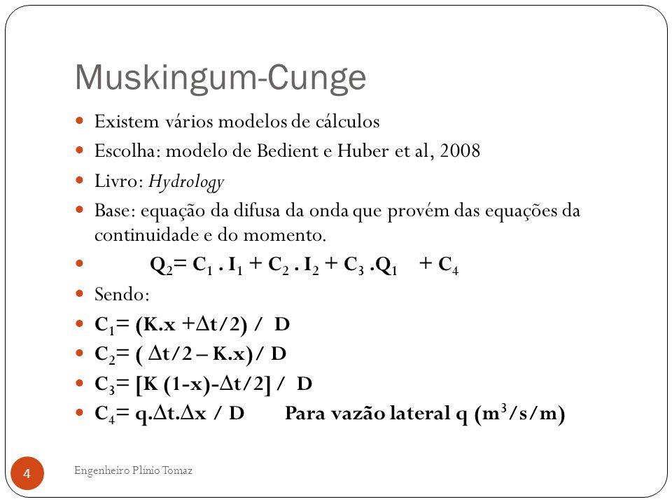 Muskingum-Cunge Engenheiro Plínio Tomaz 4 Existem vários modelos de cálculos Escolha: modelo de Bedient e Huber et al, 2008 Livro: Hydrology Base: equ