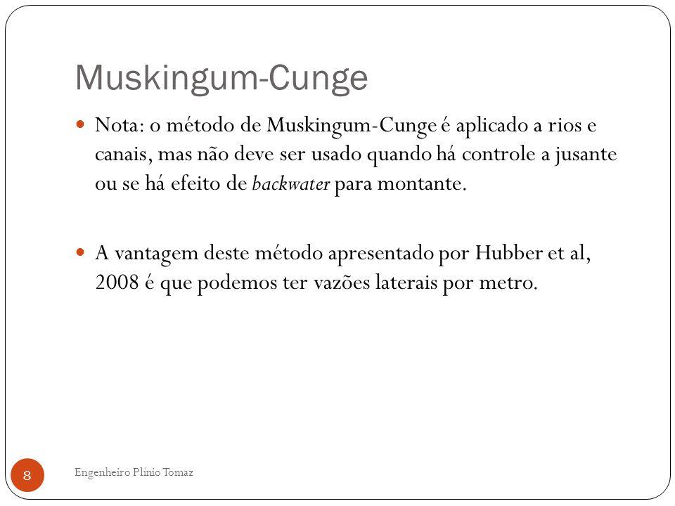 Muskingum-Cunge Engenheiro Plínio Tomaz 8 Nota: o método de Muskingum-Cunge é aplicado a rios e canais, mas não deve ser usado quando há controle a jusante ou se há efeito de backwater para montante.