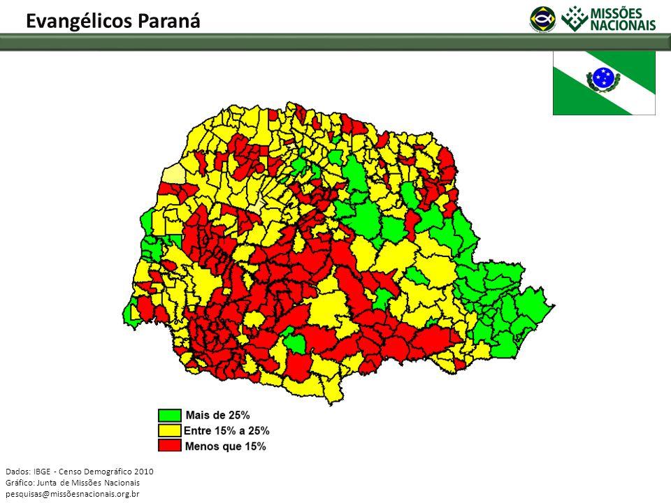 Evangélicos Paraná Dados: IBGE - Censo Demográfico 2010 Gráfico: Junta de Missões Nacionais pesquisas@missõesnacionais.org.br