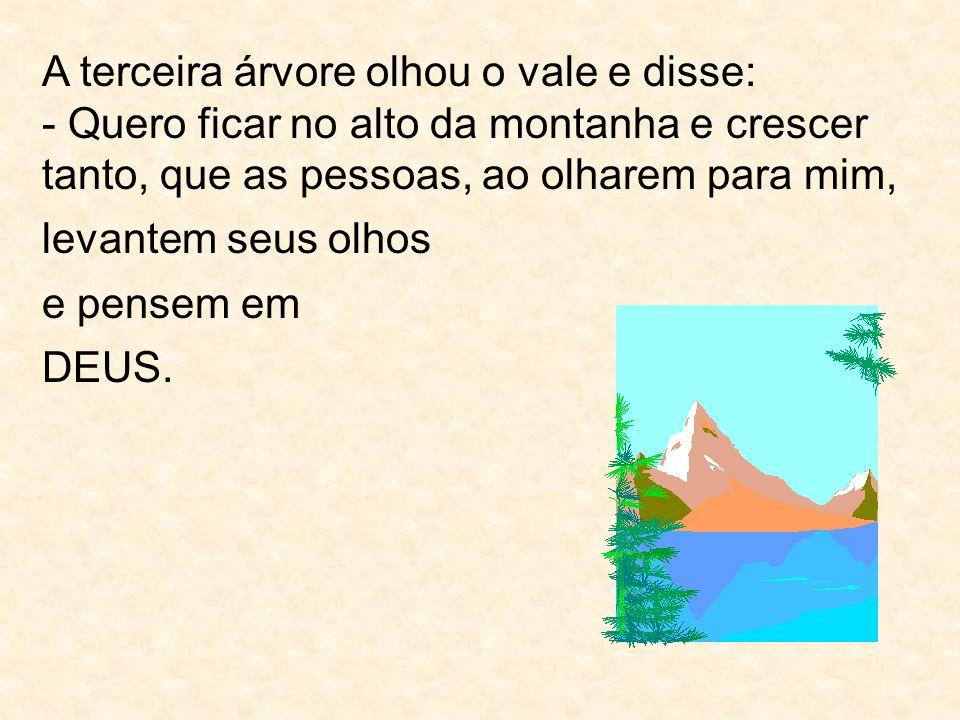 A terceira árvore olhou o vale e disse: - Quero ficar no alto da montanha e crescer tanto, que as pessoas, ao olharem para mim, levantem seus olhos e pensem em DEUS.