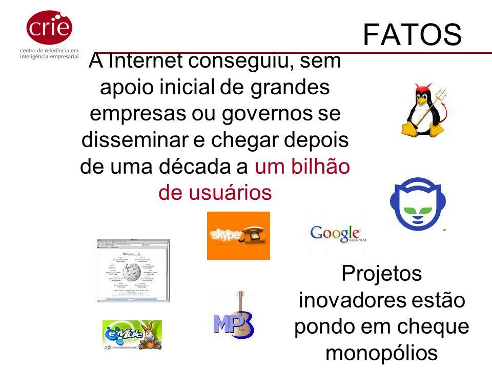 A Internet conseguiu, sem apoio inicial de grandes empresas ou governos se disseminar e chegar depois de uma década a um bilhão de usuários FATOS Proj