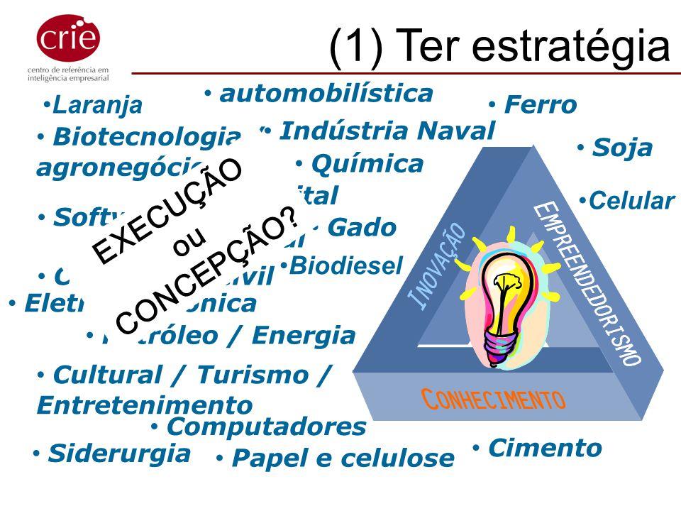 Biotecnologia / agronegócios Eletro-eletrônica Aeroespacial Petróleo / Energia Cultural / Turismo / Entretenimento (1) Ter estratégia!!! TV Digital Co