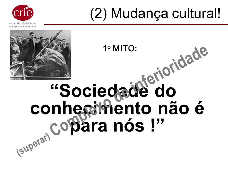 (2) Mudança cultural! Sociedade do conhecimento não é para nós ! (superar) Complexo de inferioridade 1 o MITO: