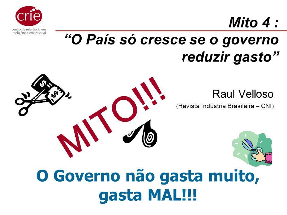Mito 4 : O País só cresce se o governo reduzir gasto Raul Velloso (Revista Indústria Brasileira – CNI) MITO!!! O Governo não gasta muito, gasta MAL!!!