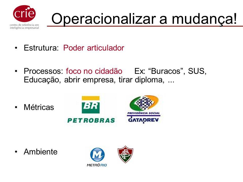 Estrutura: Poder articulador Processos: foco no cidadão Ex: Buracos, SUS, Educação, abrir empresa, tirar diploma,... Métricas Ambiente Operacionalizar