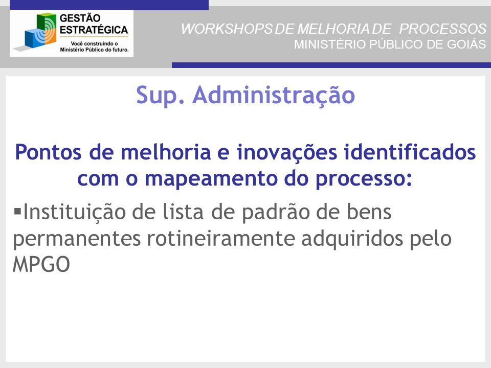 WORKSHOPS DE MELHORIA DE PROCESSOS MINISTÉRIO PÚBLICO DE GOIÁS Instituição de lista de padrão de bens permanentes rotineiramente adquiridos pelo MPGO Sup.