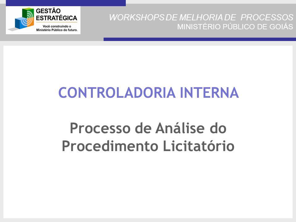 CONTROLADORIA INTERNA Processo de Análise do Procedimento Licitatório
