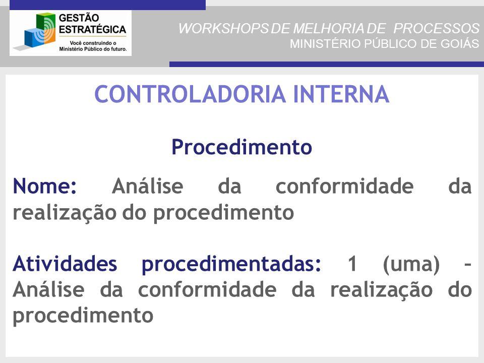 WORKSHOPS DE MELHORIA DE PROCESSOS MINISTÉRIO PÚBLICO DE GOIÁS Nome: Análise da conformidade da realização do procedimento Atividades procedimentadas: 1 (uma) – Análise da conformidade da realização do procedimento CONTROLADORIA INTERNA Procedimento