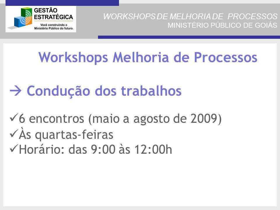 WORKSHOPS DE MELHORIA DE PROCESSOS MINISTÉRIO PÚBLICO DE GOIÁS Workshops Melhoria de Processos Condução dos trabalhos 6 encontros (maio a agosto de 2009) Às quartas-feiras Horário: das 9:00 às 12:00h