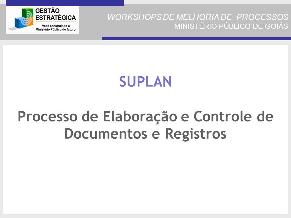 WORKSHOPS DE MELHORIA DE PROCESSOS MINISTÉRIO PÚBLICO DE GOIÁS SUPLAN Processo de Elaboração e Controle de Documentos e Registros