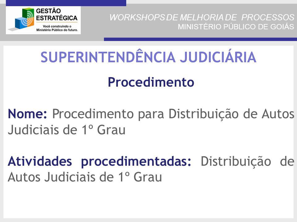WORKSHOPS DE MELHORIA DE PROCESSOS MINISTÉRIO PÚBLICO DE GOIÁS Nome: Procedimento para Distribuição de Autos Judiciais de 1º Grau Atividades procedimentadas: Distribuição de Autos Judiciais de 1º Grau SUPERINTENDÊNCIA JUDICIÁRIA Procedimento
