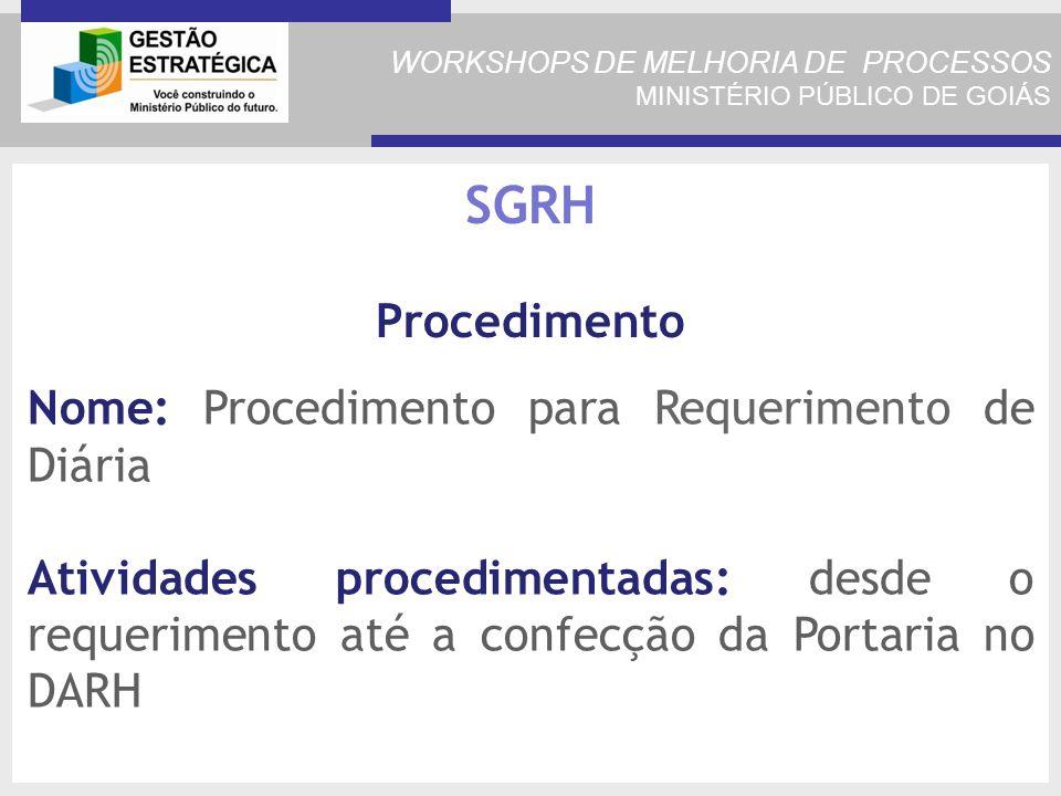 WORKSHOPS DE MELHORIA DE PROCESSOS MINISTÉRIO PÚBLICO DE GOIÁS Nome: Procedimento para Requerimento de Diária Atividades procedimentadas: desde o requerimento até a confecção da Portaria no DARH SGRH Procedimento