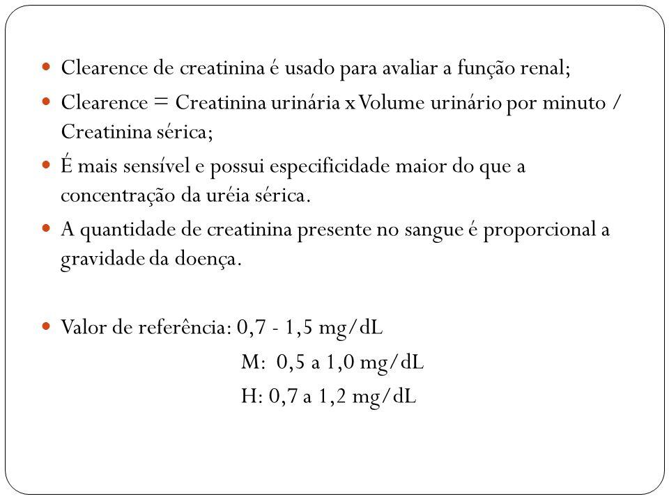 Clearence de creatinina é usado para avaliar a função renal; Clearence = Creatinina urinária x Volume urinário por minuto / Creatinina sérica; É mais