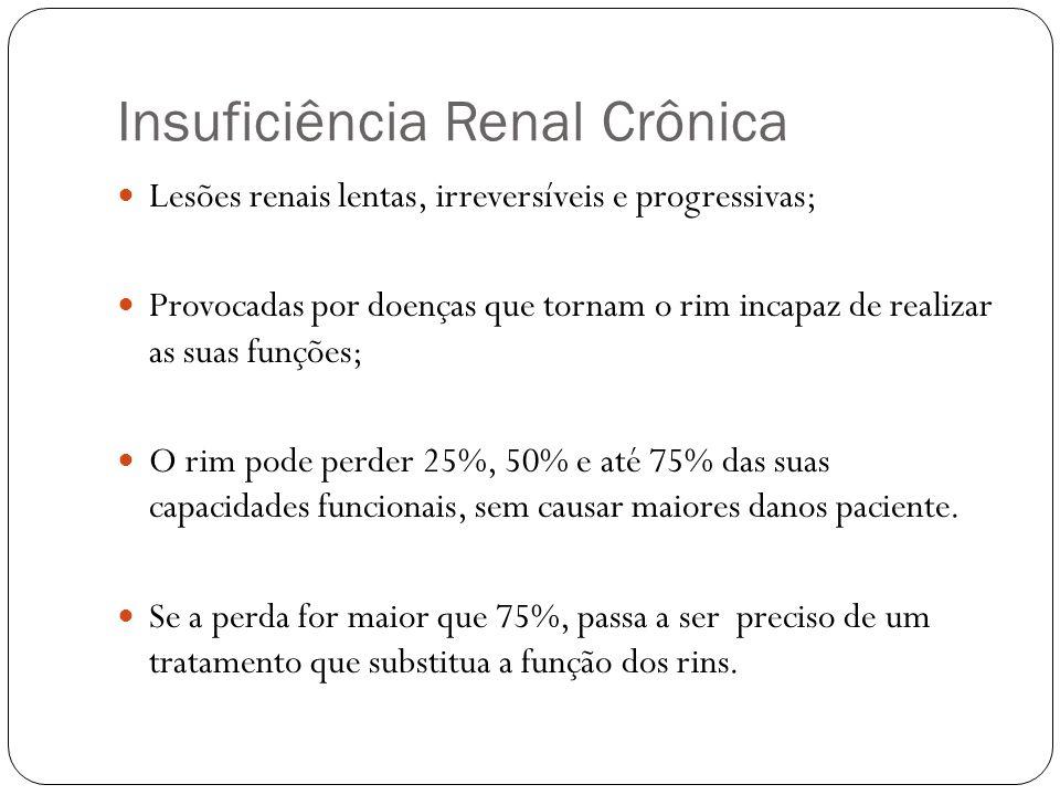 Insuficiência Renal Crônica Principais Causas: Hipertensão ; Diabetes ; Rins policísticos ; Glomerulonefrites ; Infecções urinárias de repetição ; Cálculos renais de repetição.