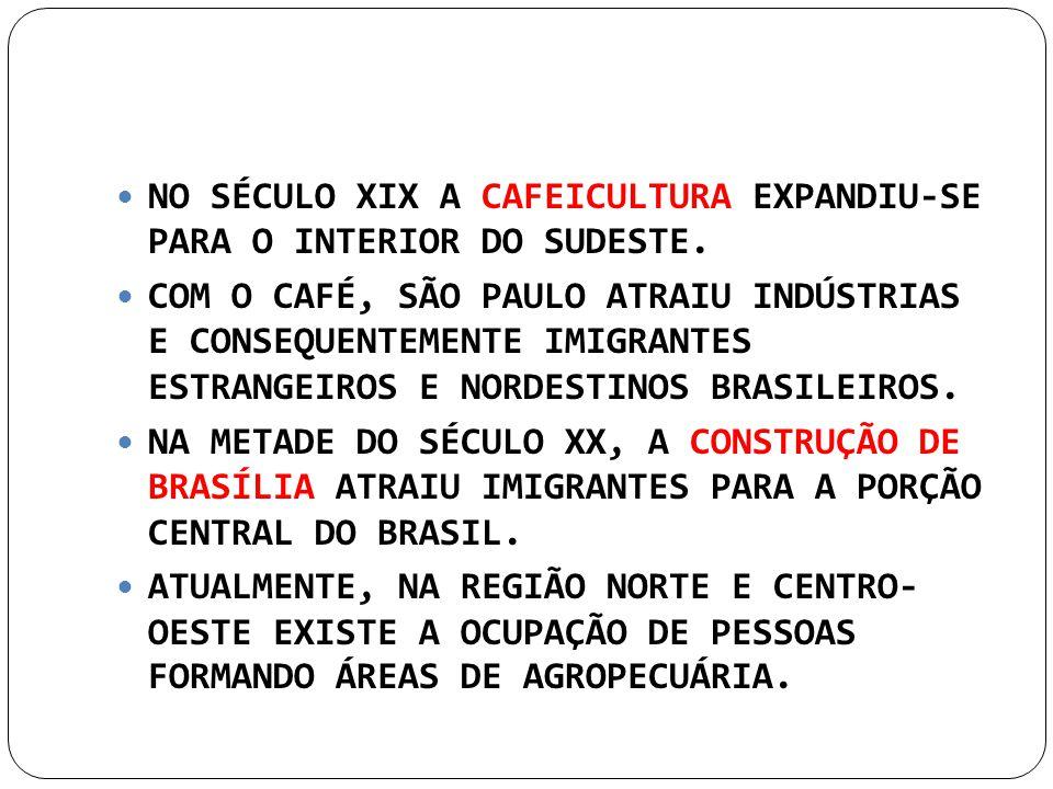 NO SÉCULO XIX A CAFEICULTURA EXPANDIU-SE PARA O INTERIOR DO SUDESTE. COM O CAFÉ, SÃO PAULO ATRAIU INDÚSTRIAS E CONSEQUENTEMENTE IMIGRANTES ESTRANGEIRO