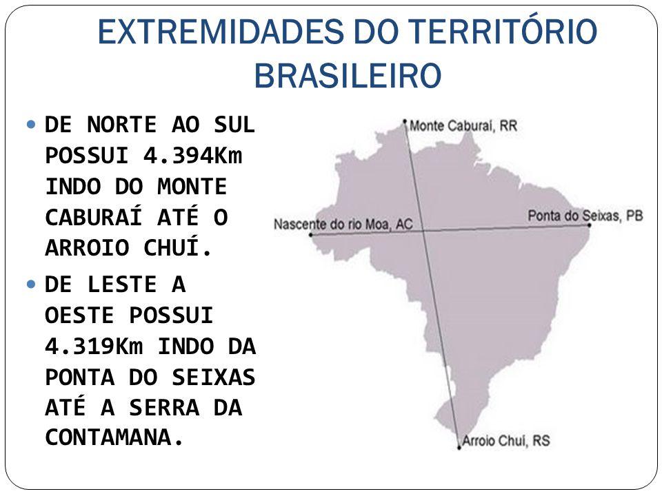 EXTREMIDADES DO TERRITÓRIO BRASILEIRO DE NORTE AO SUL POSSUI 4.394Km INDO DO MONTE CABURAÍ ATÉ O ARROIO CHUÍ. DE LESTE A OESTE POSSUI 4.319Km INDO DA