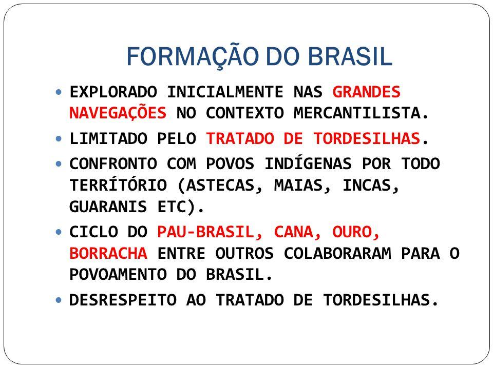 FORMAÇÃO DO BRASIL EXPLORADO INICIALMENTE NAS GRANDES NAVEGAÇÕES NO CONTEXTO MERCANTILISTA. LIMITADO PELO TRATADO DE TORDESILHAS. CONFRONTO COM POVOS