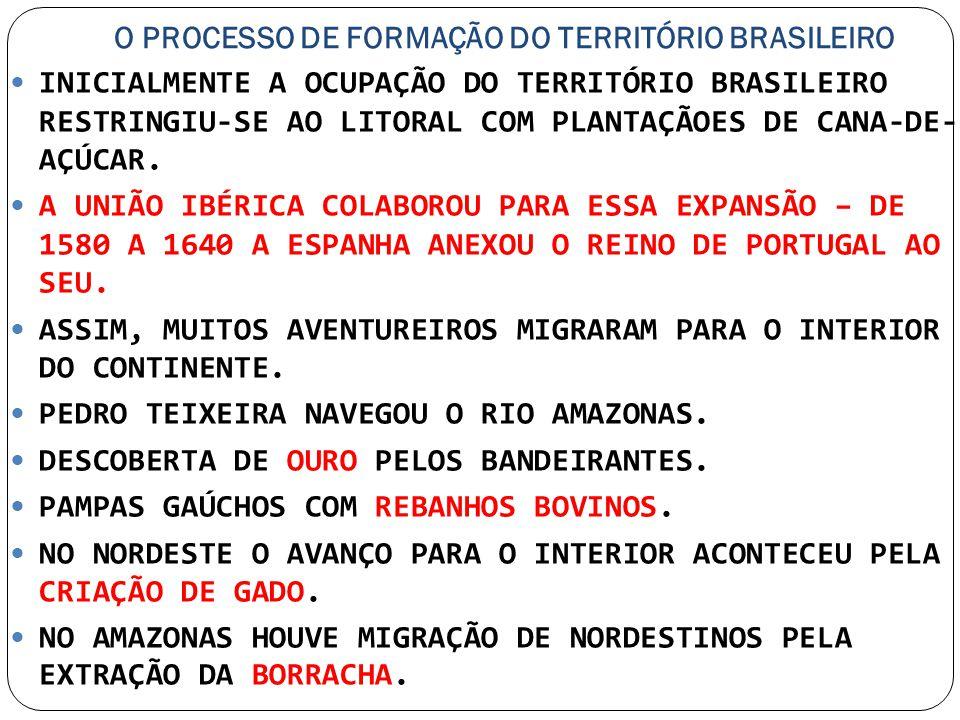 O PROCESSO DE FORMAÇÃO DO TERRITÓRIO BRASILEIRO INICIALMENTE A OCUPAÇÃO DO TERRITÓRIO BRASILEIRO RESTRINGIU-SE AO LITORAL COM PLANTAÇÃOES DE CANA-DE-