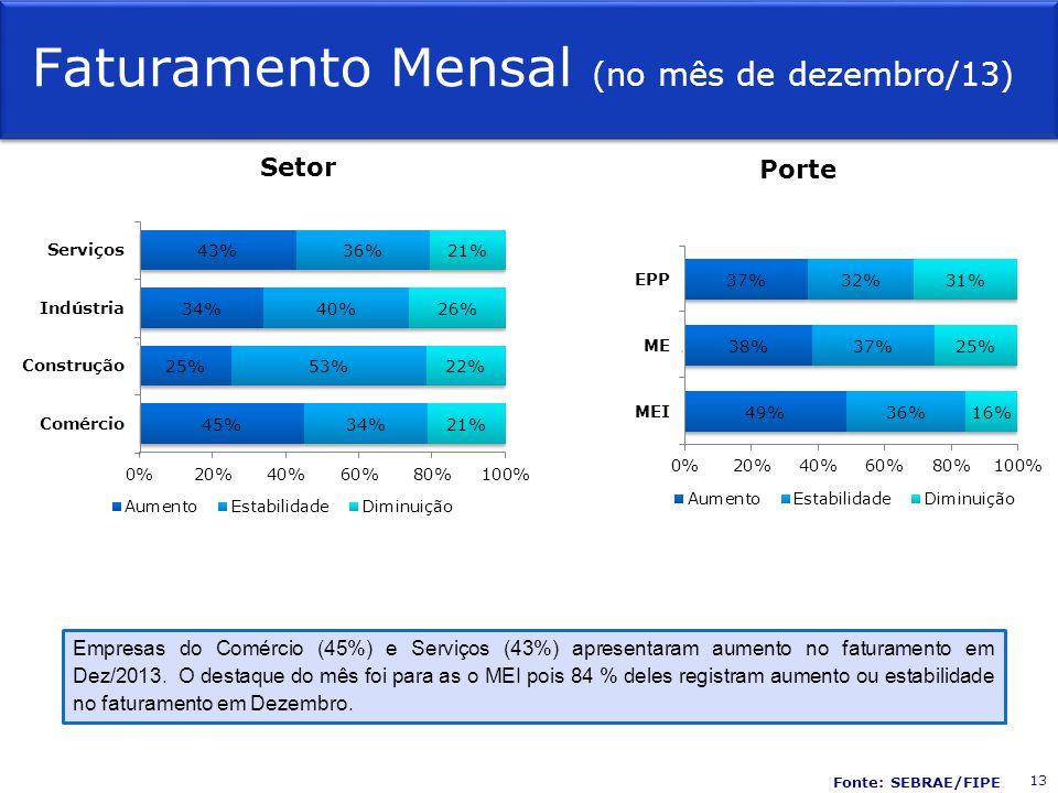 Faturamento Mensal (no mês de dezembro/13) Setor Porte Empresas do Comércio (45%) e Serviços (43%) apresentaram aumento no faturamento em Dez/2013.