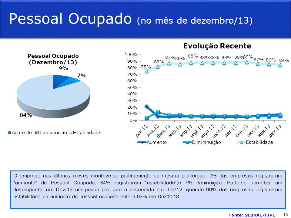 Pessoal Ocupado (no mês de dezembro/13) Evolução Recente O emprego nos últimos meses manteve-se praticamente na mesma proporção.