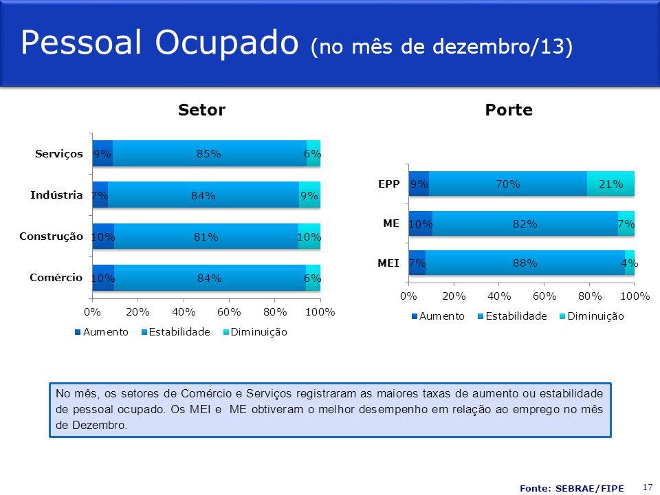 Pessoal Ocupado (no mês de dezembro/13) SetorPorte No mês, os setores de Comércio e Serviços registraram as maiores taxas de aumento ou estabilidade de pessoal ocupado.