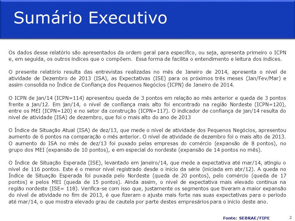 Sumário Executivo Os dados desse relatório são apresentados da ordem geral para específico, ou seja, apresenta primeiro o ICPN e, em seguida, os outros índices que o compõem.
