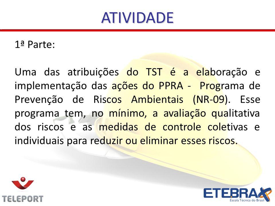 ATIVIDADE 1ª Parte: Uma das atribuições do TST é a elaboração e implementação das ações do PPRA - Programa de Prevenção de Riscos Ambientais (NR-09).