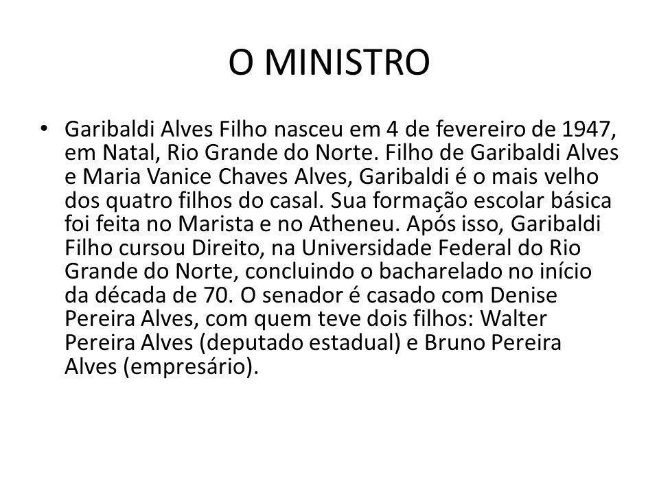 O MINISTRO Garibaldi Alves Filho nasceu em 4 de fevereiro de 1947, em Natal, Rio Grande do Norte. Filho de Garibaldi Alves e Maria Vanice Chaves Alves