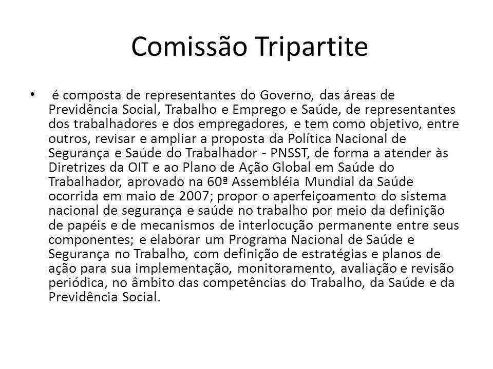 Comissão Tripartite é composta de representantes do Governo, das áreas de Previdência Social, Trabalho e Emprego e Saúde, de representantes dos trabal