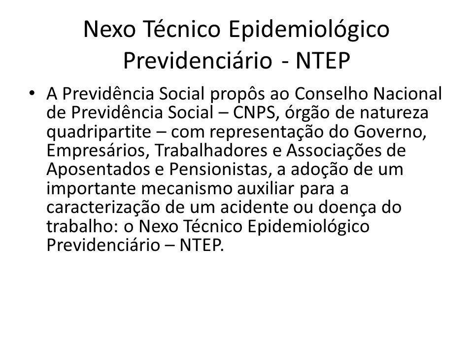 Nexo Técnico Epidemiológico Previdenciário - NTEP A Previdência Social propôs ao Conselho Nacional de Previdência Social – CNPS, órgão de natureza qua