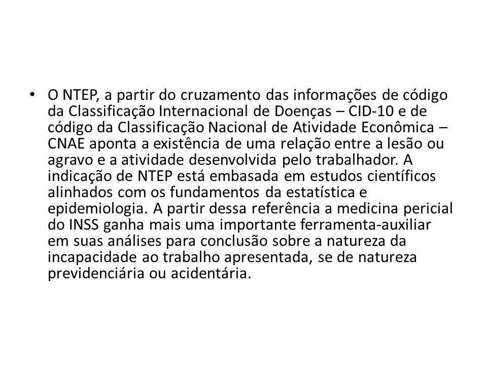 O NTEP, a partir do cruzamento das informações de código da Classificação Internacional de Doenças – CID-10 e de código da Classificação Nacional de A