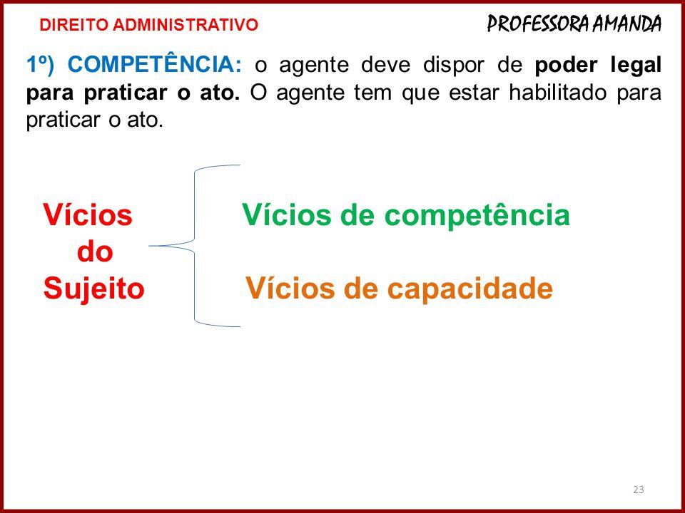 23 1º) COMPETÊNCIA: o agente deve dispor de poder legal para praticar o ato. O agente tem que estar habilitado para praticar o ato. Vícios Vícios de c