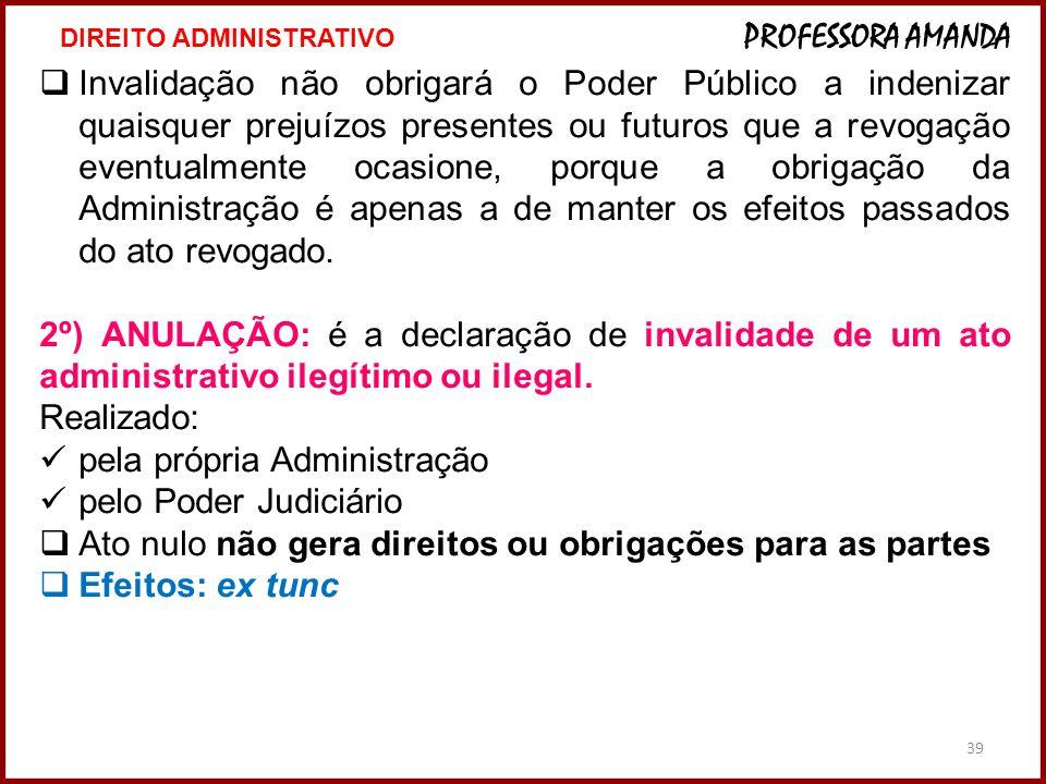 39 Invalidação não obrigará o Poder Público a indenizar quaisquer prejuízos presentes ou futuros que a revogação eventualmente ocasione, porque a obri