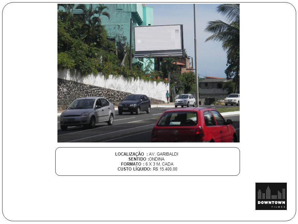 LOCALIZAÇÃO : AV. GARIBALDI SENTIDO :ONDINA FORMATO : 6 X 3 M, CADA CUSTO LÍQUIDO: R$ 15.400,00