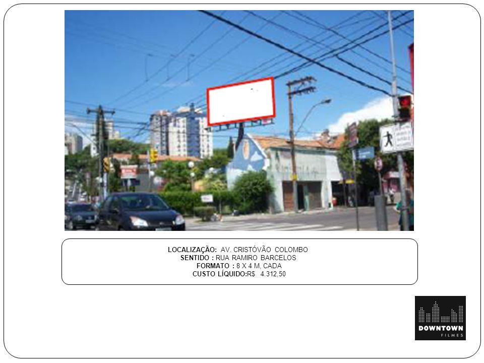 LOCALIZAÇÃO: AV. CRISTÓVÃO COLOMBO SENTIDO : RUA RAMIRO BARCELOS FORMATO : 8 X 4 M, CADA CUSTO LÍQUIDO:R$ 4.312,50