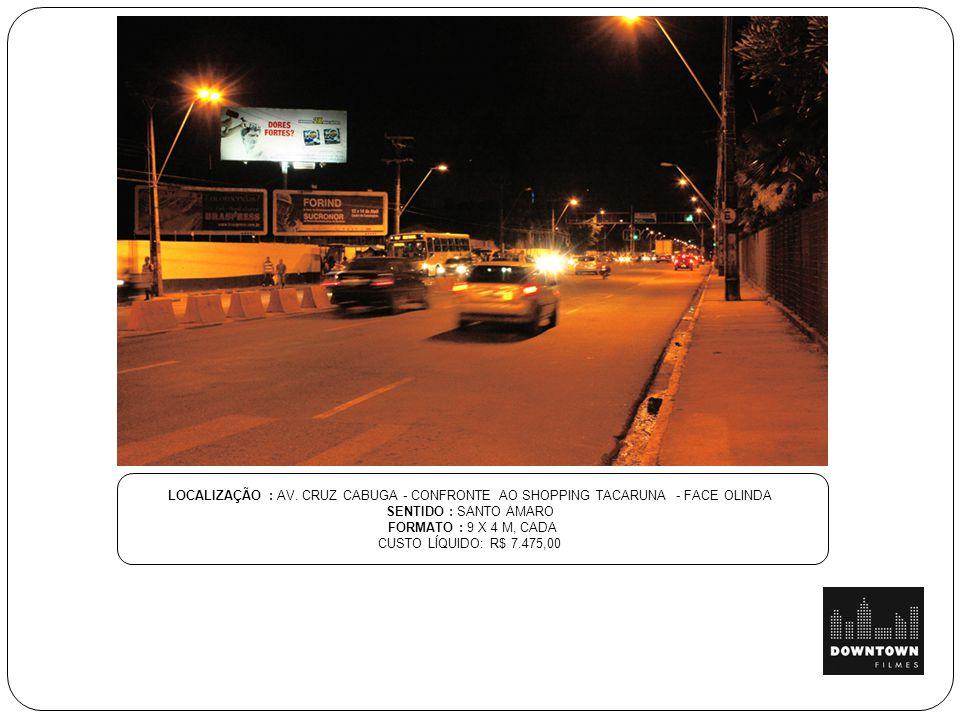LOCALIZAÇÃO : AV. CRUZ CABUGA - CONFRONTE AO SHOPPING TACARUNA - FACE OLINDA SENTIDO : SANTO AMARO FORMATO : 9 X 4 M, CADA CUSTO LÍQUIDO: R$ 7.475,00