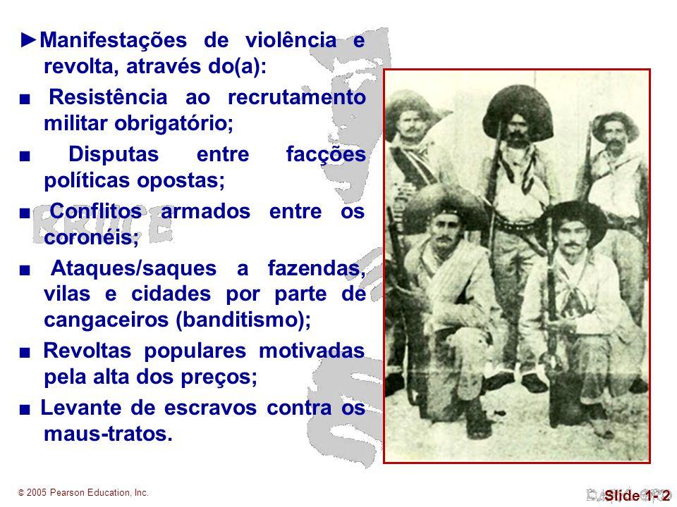 © 2005 Pearson Education, Inc. Slide 1- 2 Manifestações de violência e revolta, através do(a): Resistência ao recrutamento militar obrigatório; Disput