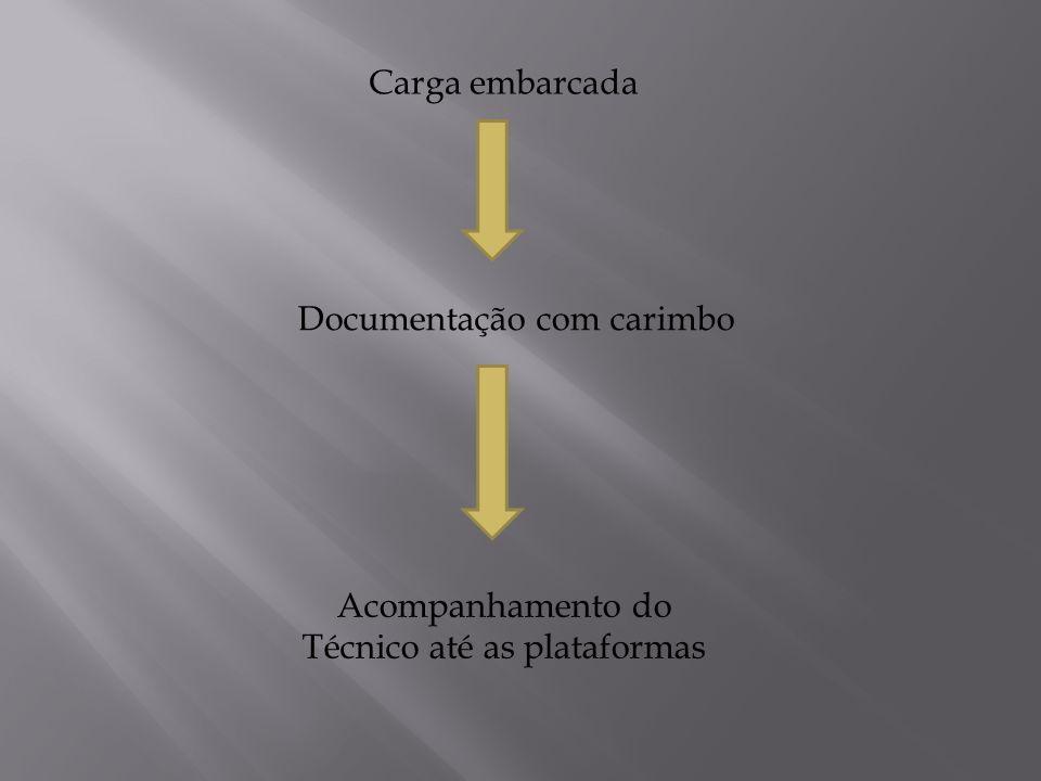 Carga embarcada Documentação com carimbo Acompanhamento do Técnico até as plataformas