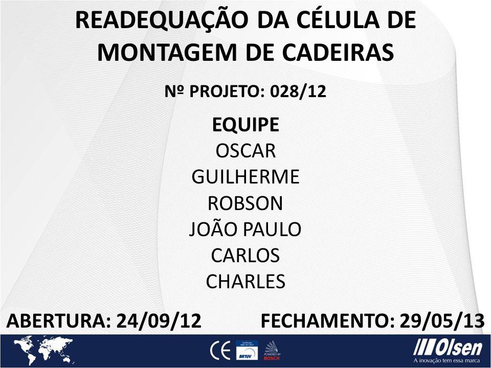 READEQUAÇÃO DA CÉLULA DE MONTAGEM DE CADEIRAS Nº PROJETO: 028/12 EQUIPE OSCAR GUILHERME ROBSON JOÃO PAULO CARLOS CHARLES ABERTURA: 24/09/12 FECHAMENTO