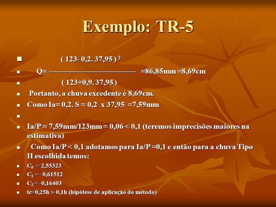 Exemplo: TR-5 ( 123- 0,2. 37,95 ) 2 ( 123- 0,2. 37,95 ) 2 Q= ---------------------------------- =86,85mm =8,69cm Q= ----------------------------------