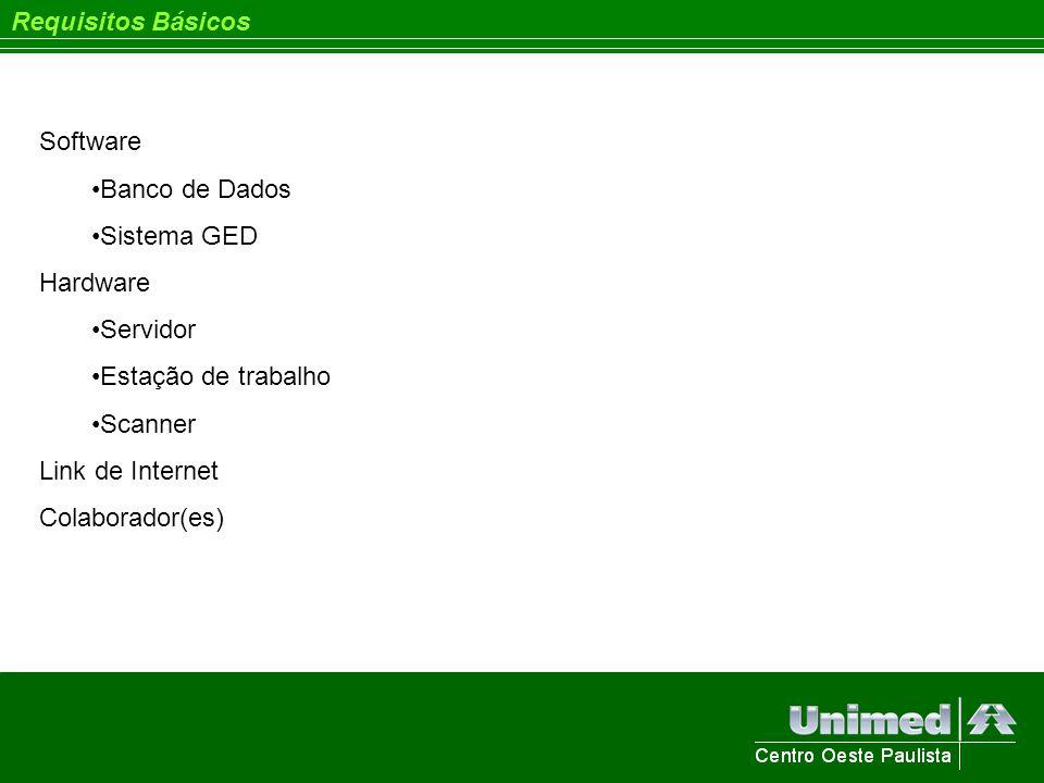 Requisitos Básicos Software Banco de Dados Sistema GED Hardware Servidor Estação de trabalho Scanner Link de Internet Colaborador(es)