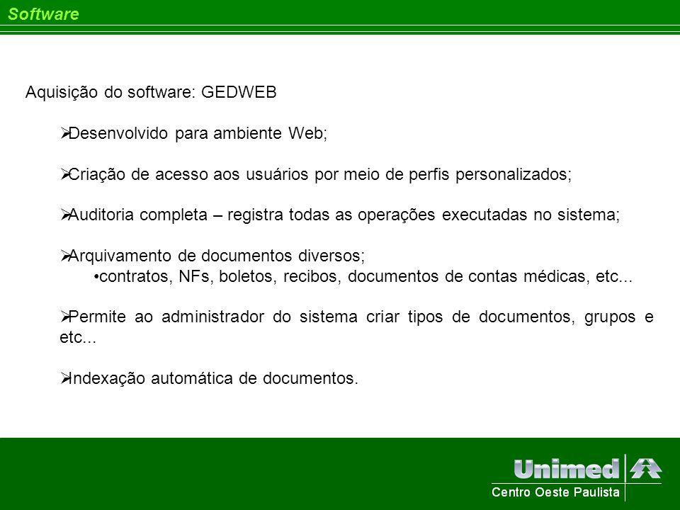 Software Aquisição do software: GEDWEB Desenvolvido para ambiente Web; Criação de acesso aos usuários por meio de perfis personalizados; Auditoria com