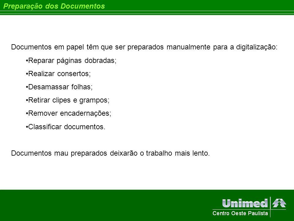 Preparação dos Documentos Documentos em papel têm que ser preparados manualmente para a digitalização: Reparar páginas dobradas; Realizar consertos; D