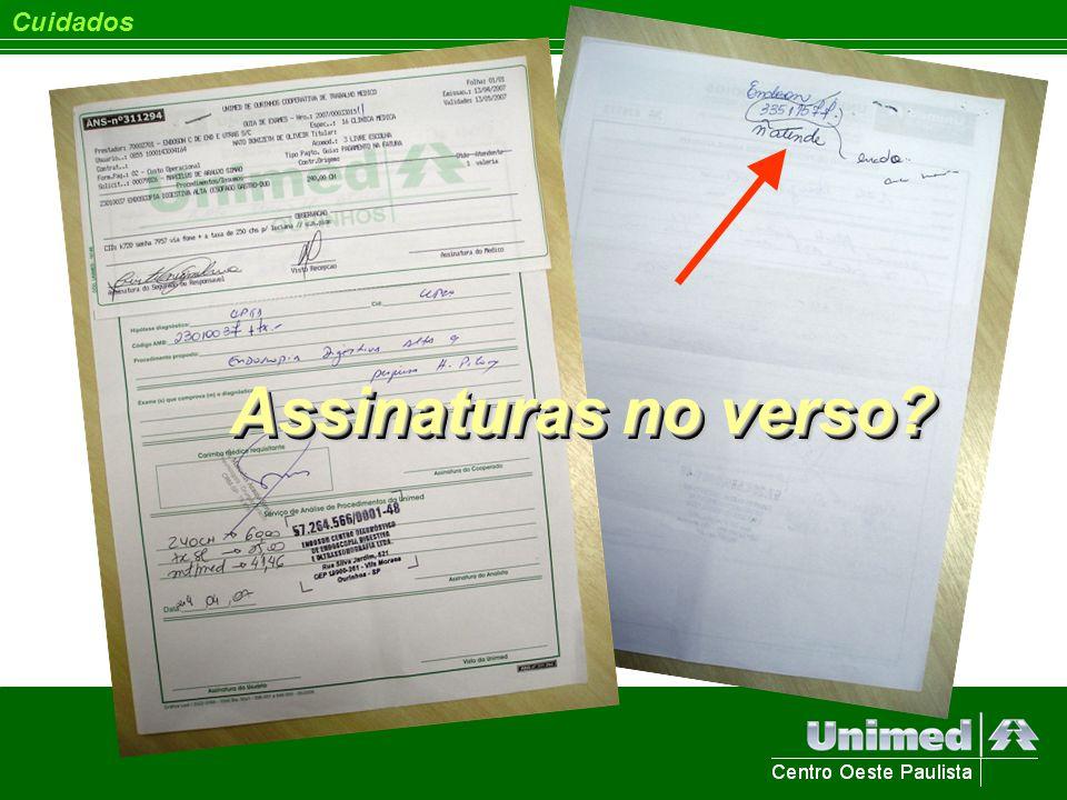 Cuidados Assinaturas no verso?