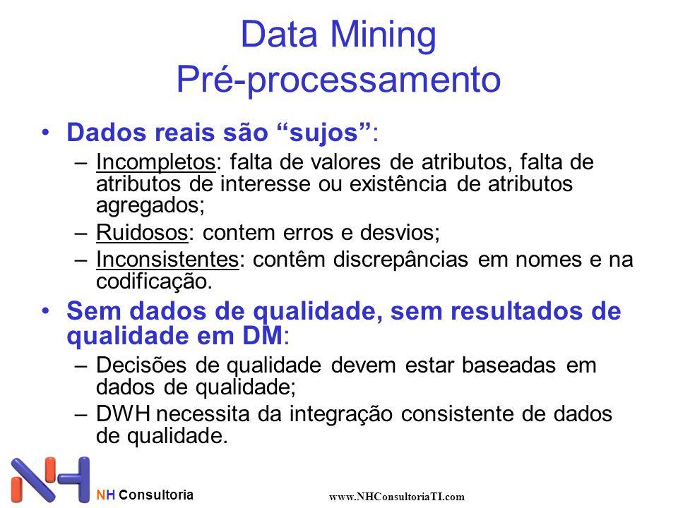 NH Consultoria www.NHConsultoriaTI.com Data Mining Pré-processamento Dados reais são sujos: –Incompletos: falta de valores de atributos, falta de atri