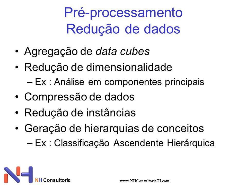 NH Consultoria www.NHConsultoriaTI.com Pré-processamento Redução de dados Agregação de data cubes Redução de dimensionalidade –Ex : Análise em compone