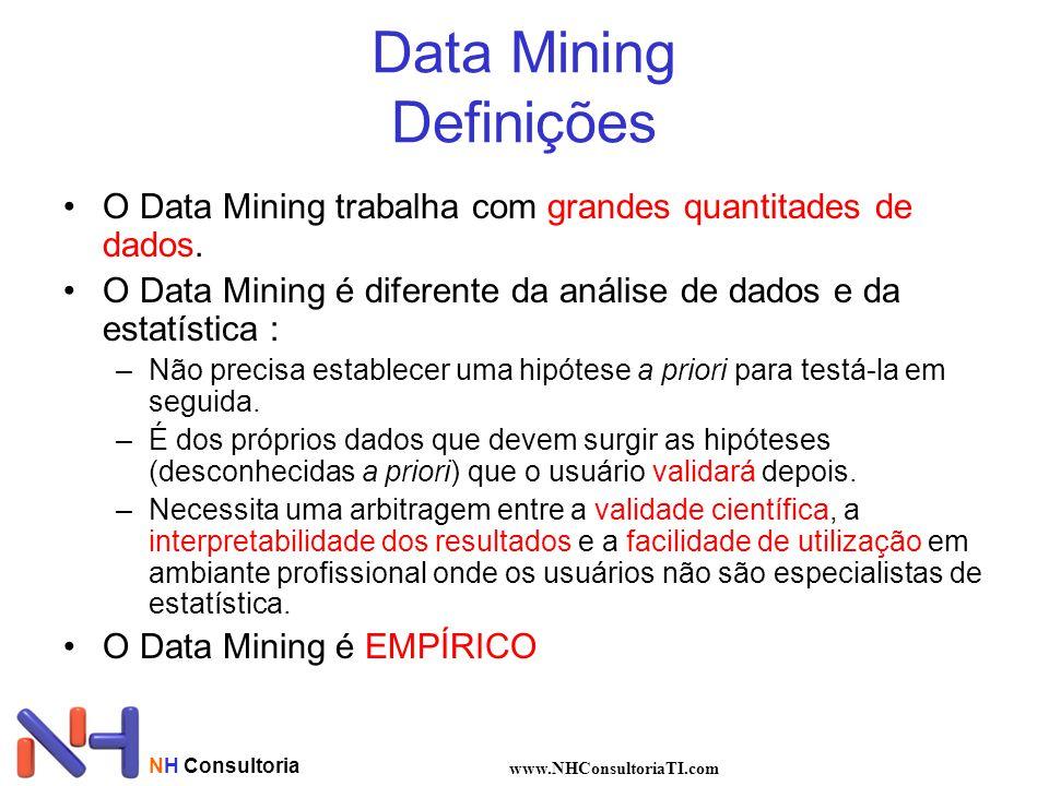 NH Consultoria www.NHConsultoriaTI.com Data Mining Definições O Data Mining trabalha com grandes quantitades de dados. O Data Mining é diferente da an